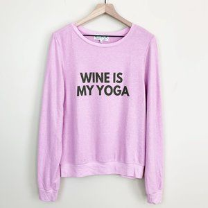WILDFOX Wine Is My Yoga Sweater Orchid M NWT